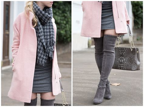 Pink Coat, Houndstooth Scarf & Gray Boots }