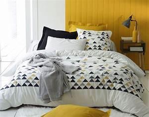Lit Scandinave 160x200 : linge de lit style scandinave motif triangles becquet ~ Teatrodelosmanantiales.com Idées de Décoration