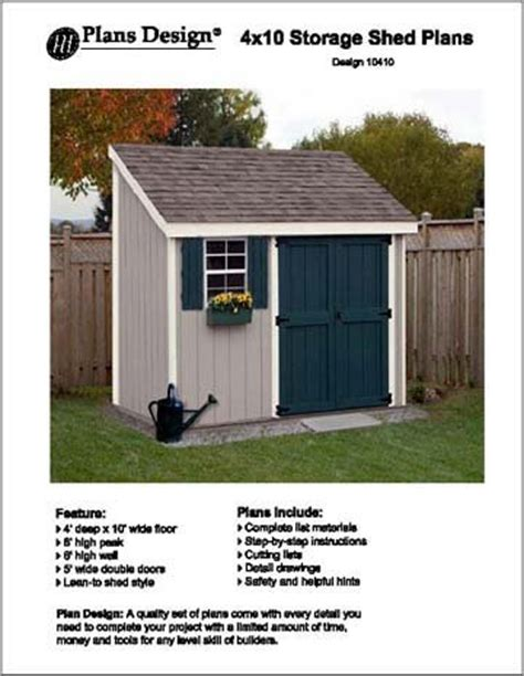 4 x 10 shed 4 x 10 lean to storage shed project plans design 10410