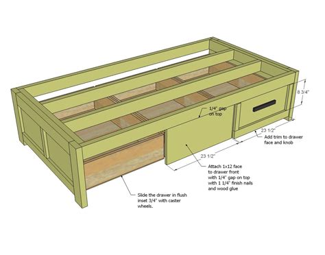 simple twin bed frame blueprints trundle drawers