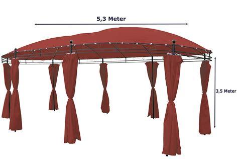 pavillon 4 50x4 50 garten pavillon oval 5 3 x 3 5m burgundrot inkl seitenteile kaufen bei gd artlands etrading