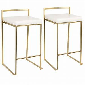 Fuji, Contemporary, Counter, Stool, In, Gold, With, White, Faux, Leather, By, Lumisource