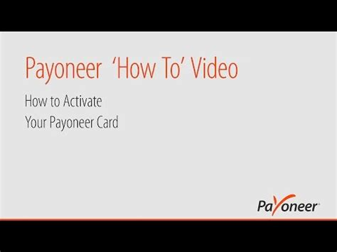 When prompted, enter the last four digits of your card number and follow the instructions. How to Activate Your Payoneer Card - YouTube