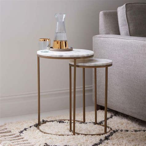 Round Nesting Side Tables Set  Marbleantique Brass