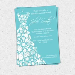 bridal shower invitation seashell dress elegant sea shell With beach themed wedding shower invitations