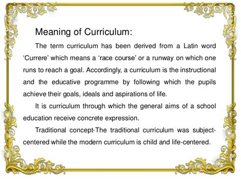 curriculum its meaning nature and scope