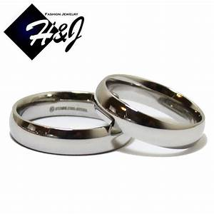 His hers 2 pcs stainless steel 5mm silver plain simple for Plain wedding ring sets