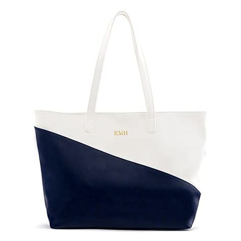 monogram vegan leather tote bag