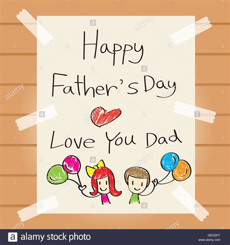 kids happy fathers day drawing stock  kids happy