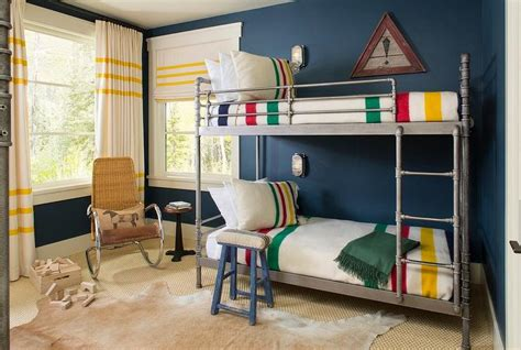 Bunk beds save room space, and kids love them! Industrial Steel Pipe Bunk Beds with Colorful Striped Bedding - Contemporary - Boy's Room ...