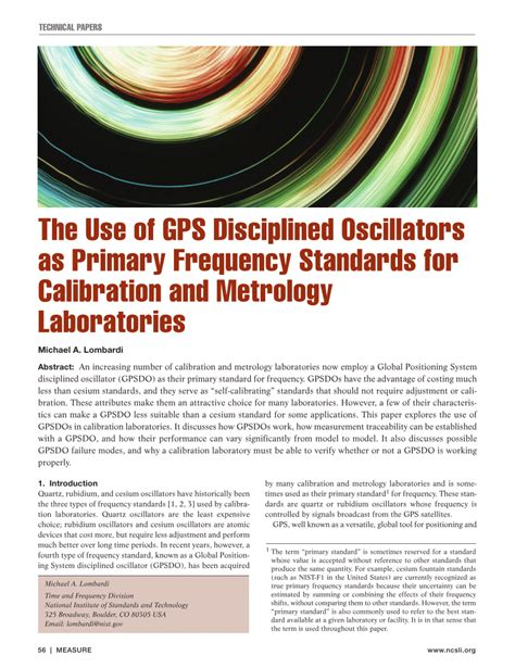Pdf The Use Gps Disciplined Oscillators Primary