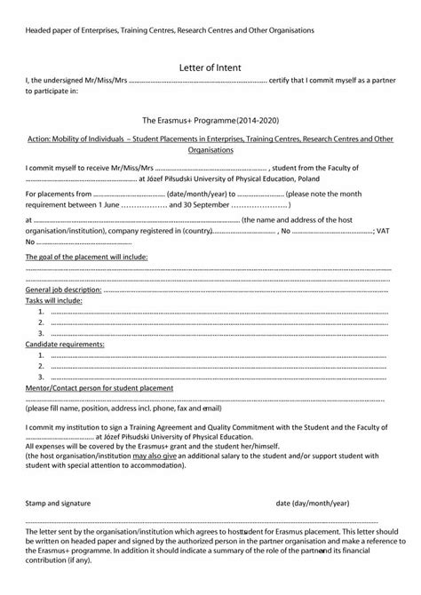 letter of intent for 40 letter of intent templates sles for school
