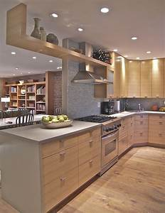 Natural, Oak, Cabinets, Kitchen, Modern, With, Light, Wood, Contemporary, Range, Hoods, And, Vents