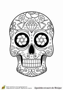 Dessin Tete De Mort Avec Rose : coloriage squelette sucre fleurs et diamants sur ~ Melissatoandfro.com Idées de Décoration