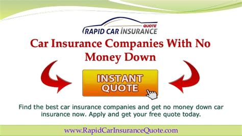 Just like buying a regular auto be wary of offers for no down payment auto insurance and no deposit auto insurance because the companies behind them may not have a good reputation. Get Cheap Car Insurance With No Money Down