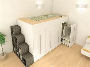 Meuble Gain De Place Pour Studio : meubles rangement gain de place pour studio table de lit ~ Premium-room.com Idées de Décoration