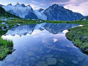 Beautiful, Landscape, Hd, Wallpaper, Water, Mountains, With, Snow, Sky, Clouds, Reflection, Wallpapers13, Com