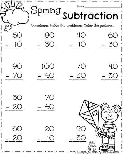 first grade worksheets for spring math atividades de