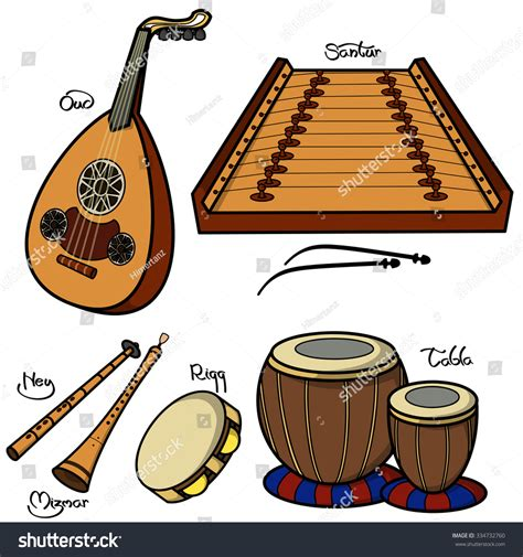 String instruments (chordophones), wind instruments (aerophones), and percussion instruments. Set Hand Drawn Traditional Arabic Musical Stock Vector ...