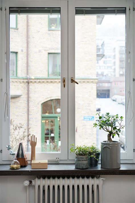 White Window Ledge by Beautifully Decorated Windowsill Green Plants And Small
