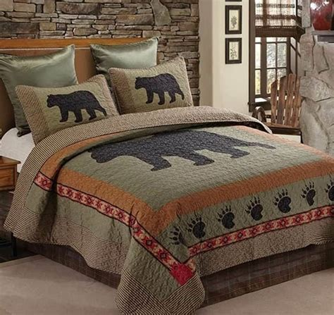 black bear paw pc twin quilt set lodge cabin country