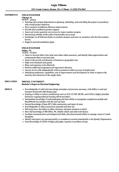 field engineer resume samples velvet jobs