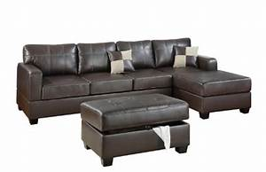 Bobkona wilder 3 piece bonded leather reversible sectional for Taylor sectional sofa and ottoman dark brown