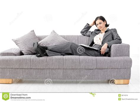 european house plans one businesswoman sitting in sofa royalty free stock image