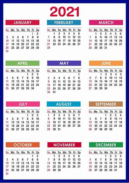 Calendar 2021 Printable Months Yearly Templates