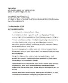 Resume Market Research by Marketing Resume Exles 50 Free Word Pdf Documents