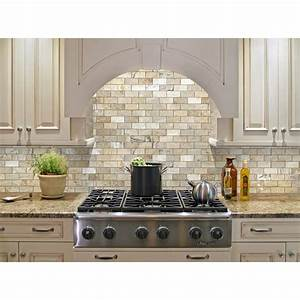 shop allen roth beige natural stone mosaic subway indoor With kitchen cabinets lowes with stone wall art for outdoors