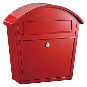 Galvanized, Steel, Locking, Mailbox, Red, Or, Black
