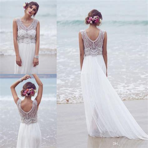 Discount Sparkly Bohemian Beach Wedding Dresses 2018 Silk