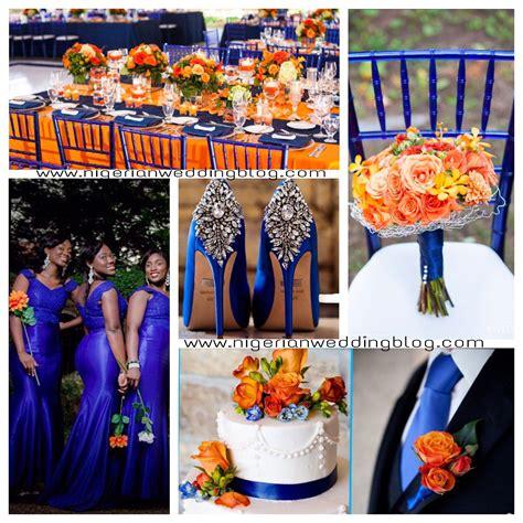 royal blue orange wedding color sceheme color ideas