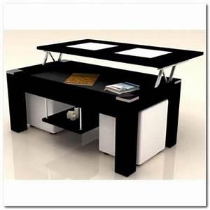 Table Basse Pouf Intégré : table basse noir plateau relevable 2 poufs blanc achat vente table basse table basse noir ~ Dallasstarsshop.com Idées de Décoration