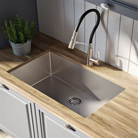 kraus khu10026 26 inch undermount single bowl kitchen sink with 16 stainless steel