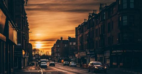 glasgow night sunset last