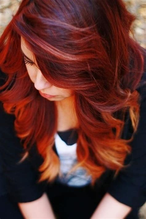 Awsome Red To Orange Ombre I Want Todo This To My Hair