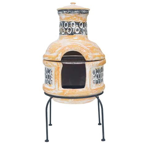 Chiminea On Sale - la hacienda circles with grill clay chiminea small 75cm on