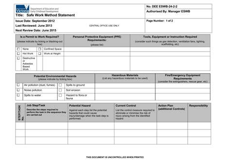 safe work method statement template docx