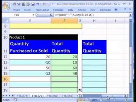 ytle formula  running total inventory youtube