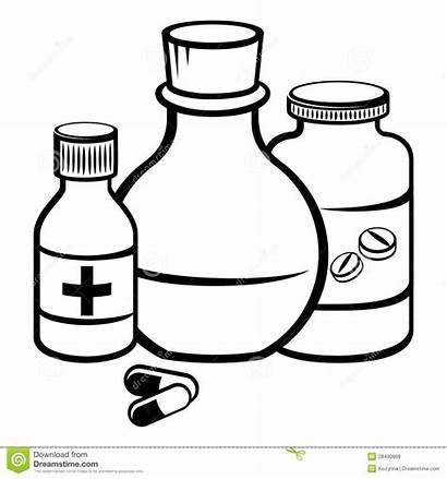 Medicine Clipart Bottles Pills Bottle Coloring Sketch