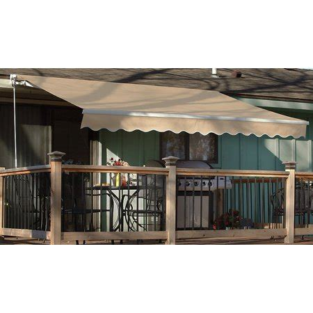 patio awning tan outdoor deck manual retractable shade sun shelter canopy walmartcom
