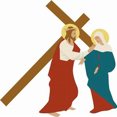 Clipart Cross Way Christ Stations Mary Jesus