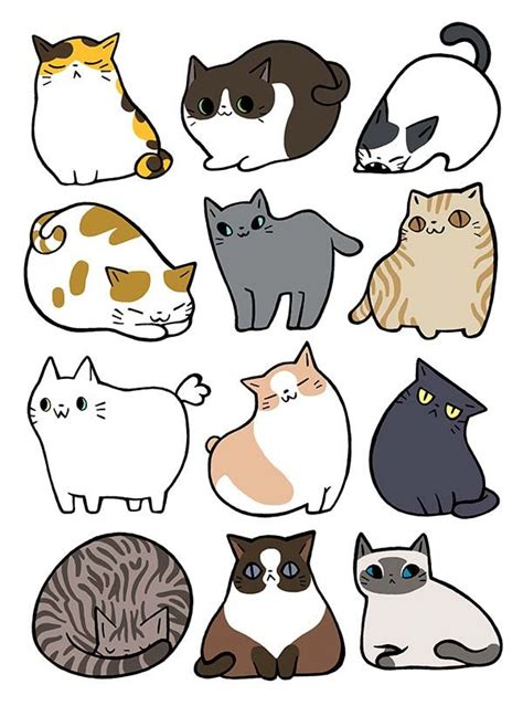 cats cats cats sticker set  nina draws ekkor