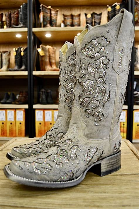 corral ladies white glitter inlay crystal square toe