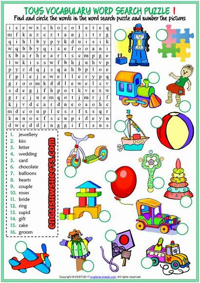 Toys Word Puzzle Esl Worksheets Printable Vocabulary