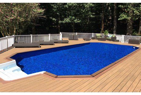 ultimate  ground pool kit brown synthetic wood coping