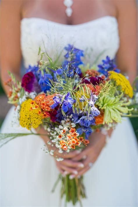 Wildflower Inspired Colorful Bridal Bouquet