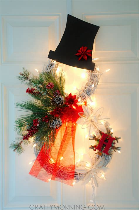 lighted grapevine snowman wreath crafty morning